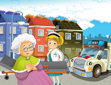 cartoon scene in the city with doctor car happy ambulance - illustration for children Stockfoto - 115553754