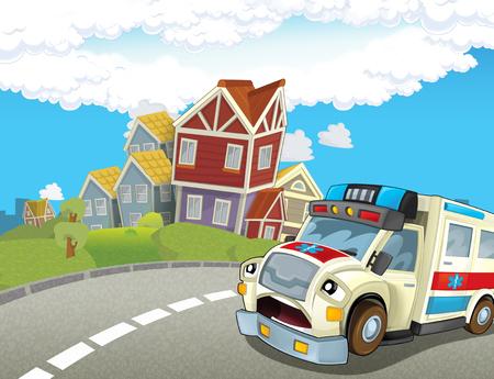 cartoon scene in the city with happy ambulance - illustration for children Reklamní fotografie