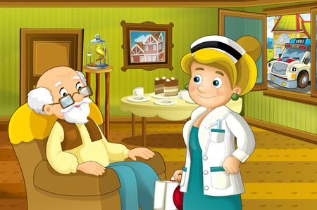 Cartoon scene of house interior living room with older man and doctor visiting him - grand father and doctor visiting him - hall - illustration for children