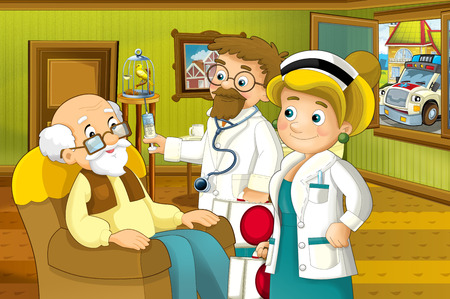 Cartoon scene of house interior living room with older man and doctor visiting him - grand father and doctor visiting him and ambulance is outside - hall - illustration for children