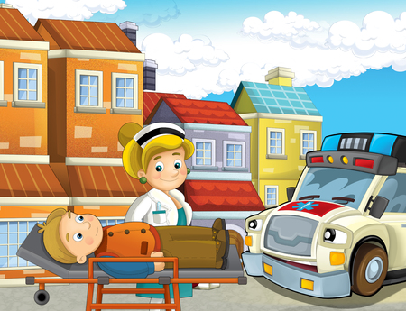 cartoon scene in the city with lady doctor and car happy ambulance and man injured on stretcher - illustration for children Stockfoto