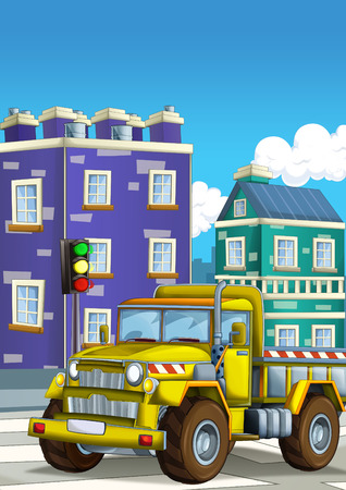 cartoon construction site car on the street in the city - illustration for children Stock Photo