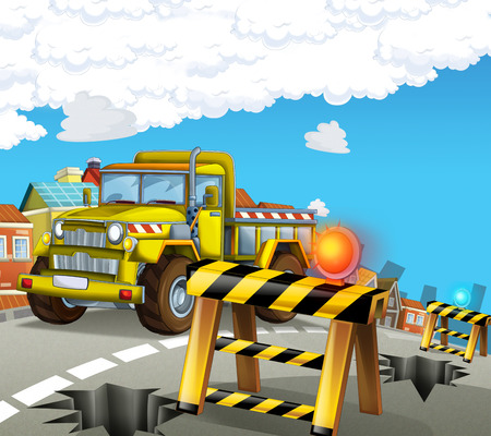cartoon construction site car on the street in the city - illustration for children Foto de archivo