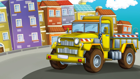 cartoon construction site car on the street in the city - illustration for children Stok Fotoğraf