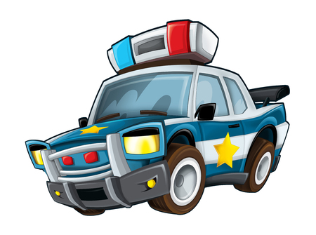 Cartoon police car on white background - illustration for children Фото со стока