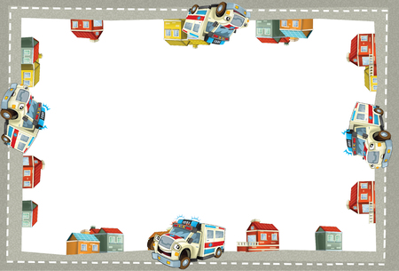 cartoon scene with ambulance in the city - border title page with white background - illustration for the children