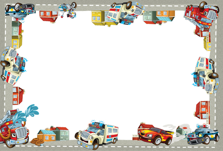 cartoon scene with ambulance police and fire brigade in the city - border title page with white background - illustration for the children
