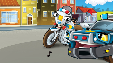 Two police friends on the street motorcycle and car - keeping safe - guarding - talking - illustration for children