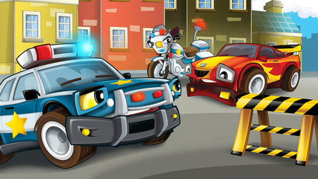 cartoon police car officer and motorcycle on the road block stopping speeding car - illustration for children