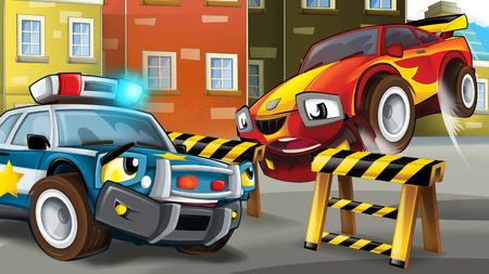 cartoon police car officer on the road block stopping speeding car - illustration for children