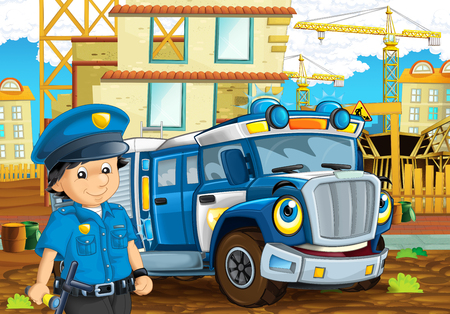 cartoon scene with policeman and police truck in the city - illustration for children Stock Photo