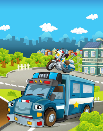 Cartoon stage with different police vehicles - truck and motorbike - colorful and cheerful scene - illustration for children