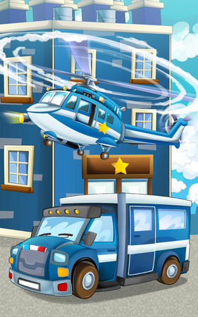 Cartoon happy and funny police car and helicopter - illustration for children