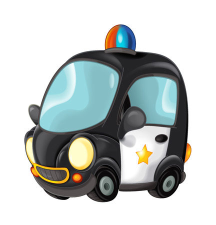 Cartoon police car on white background - illustration for children 版權商用圖片