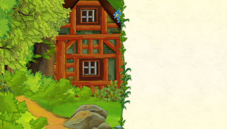 cartoon scene with older wooden house in the forest - with space for text - illustration for children