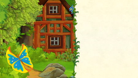 cartoon scene with older wooden house in the forest and beautiful butterfly - with space for text - illustration for children