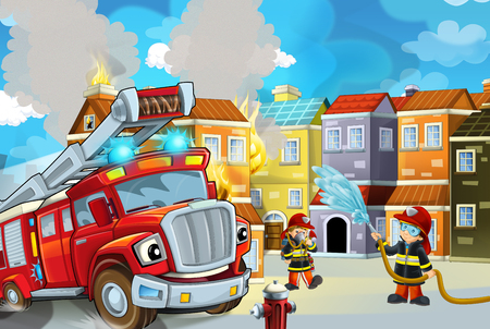cartoon stage with fireman and fire truck near burning building colorful scene - illustration for childrencartoon stage with fireman and fire truck near burning building colorful scene - illustration for children
