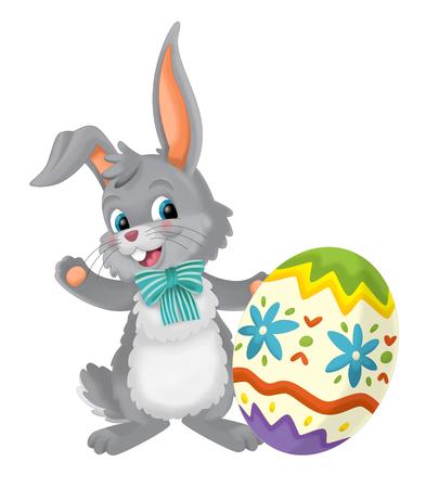 cartoon happy easter rabbit with easter egg on white background - illustration for children Stok Fotoğraf