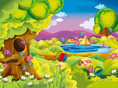 cartoon spring nature background with space for text - illustration for children