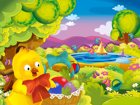 cartoon spring nature background with chick and space for text - illustration for children