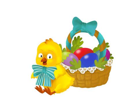 cartoon happy chicken with easter basket full of eggs on white background - illustration for the children Standard-Bild - 116716326