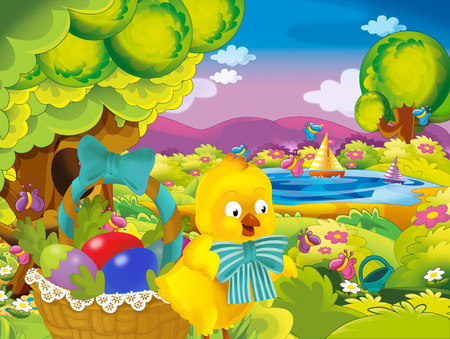 cartoon spring nature background of park and easter chicken with basket full of eggs - illustration for children