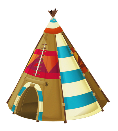 Cartoon traditional tent - tee pee - isolated on white background - illustration for children