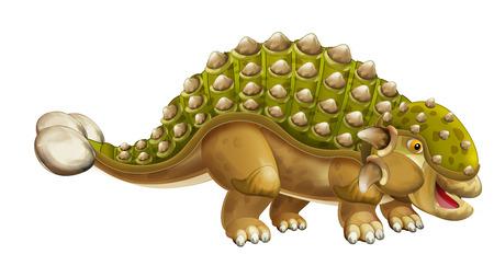 cartoon dinosaur euoplocephalus - isolated on white background - illustration for children Reklamní fotografie