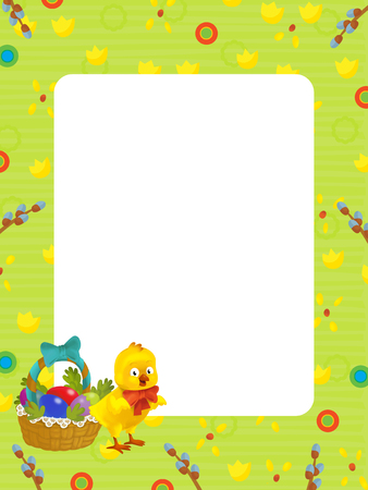 cartoon scene with kid easter chicken painting with frame on white background - illustration for children Stock Photo