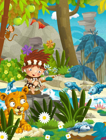 cartoon scene with caveman with sabre tooth in the jungle - illustration for children