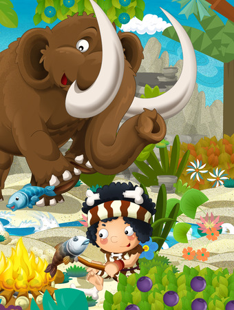 Cartoon scene with prehistoric mammoth and fishermen near the river - illustration for children