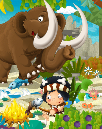 Cartoon scene with prehistoric mammoth and fishermen near the river - illustration for children