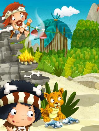 cartoon scene with cavemen - stone age village - happy illustration for children