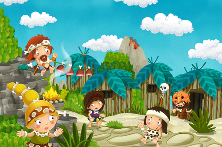 cartoon caveman village scene with volcano in the background - stone age - illustration for children Фото со стока