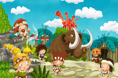 cartoon cavemen village scene with mammoth and volcano in the background - illustration for children Banco de Imagens