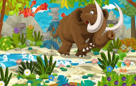 Cartoon scene with prehistoric mammoth near the river volcano in the background - illustration for children Stock Photo