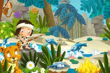 Cartoon scene with prehistoric fishermen near the river fishing and with sabre tooth tiger - illustration for children Stock Photo