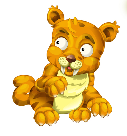 Cartoon sabre tooth wild cat isolated on white background - illustration for the children Stockfoto