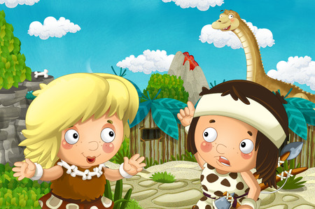 cartoon scene with caveman and girl in the village and diplodocus - illustration for children