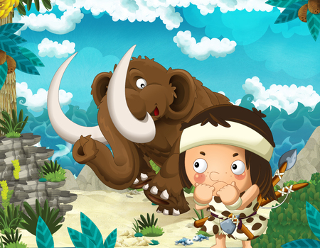 Cartoon scene of beach near the sea or ocean with prehistoric animal mammoth and caveman - illustration for children Фото со стока
