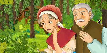 cartoon scene with couple in the forest encountering some hidden wooden house - illustration for children