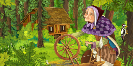 cartoon scene with happy older woman in the forest near some hidden wooden house - illustration for children