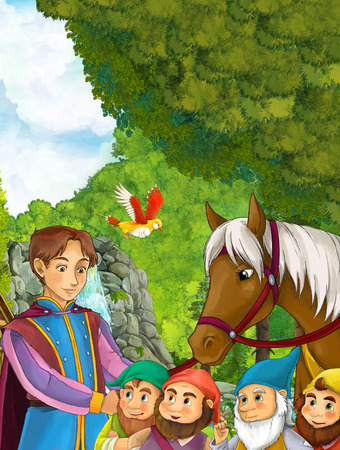 Cartoon nature scene with handsome young prince and his horse near waterfall and some dwarfs - illustration for the children Standard-Bild