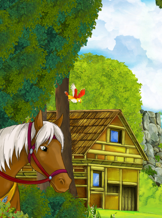 Cartoon scene with old house in the forest and someone's horse transportation - illustration for children
