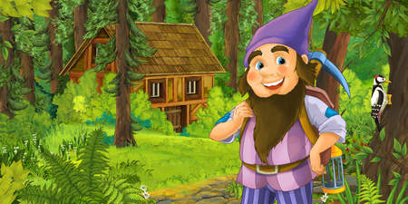 cartoon scene with happy dwarf in the forest near the wooden house - illustration for children