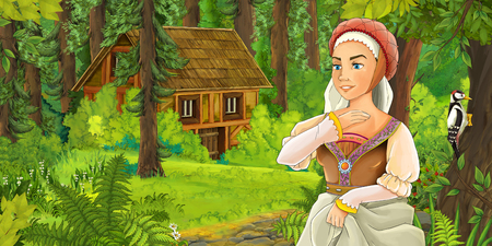 cartoon scene with happy young girl in the forest encountering hidden wooden house - illustration for children