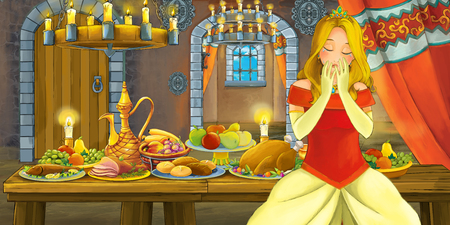 Cartoon fairy tale scene with princess by the table full of food - illustration for children