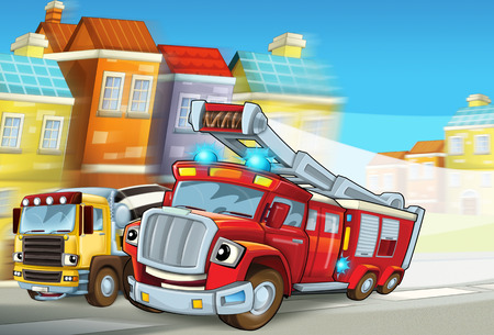 cartoon scene with red firetruck rushing to some action - duty - illustration for children Banco de Imagens