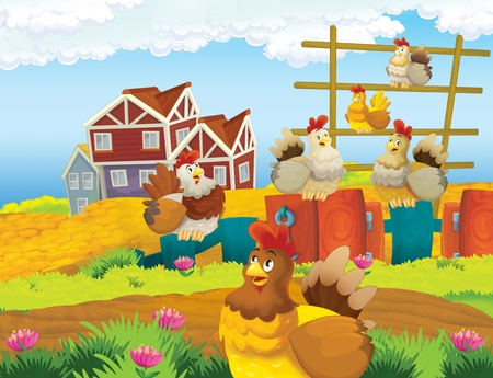 cartoon scene with life on the farm with chickens - illustration for the children
