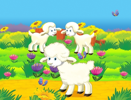cartoon scene with life on the farm with sheep on the meadow having fun - illustration for the children